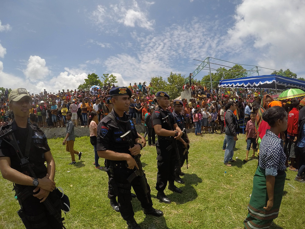 Guards monitor the Pasola Festival