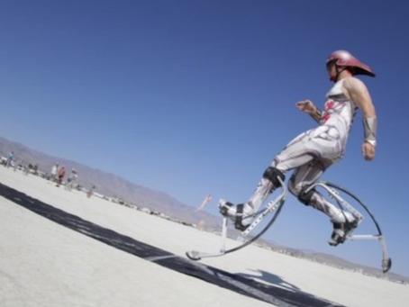 Guinness World Record: Fastest man on spring loaded stilts