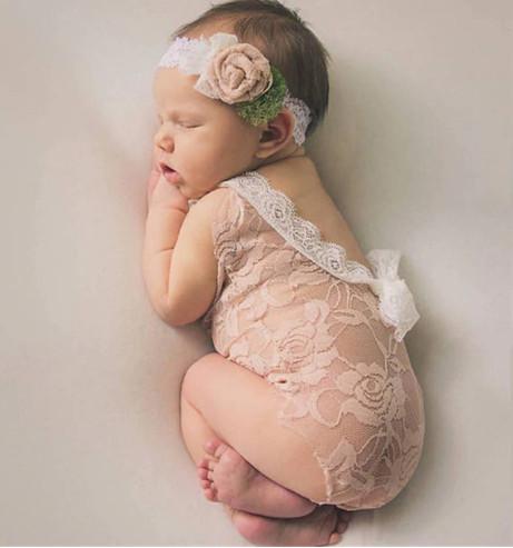 cbc0ab175a8 Beige Newborn Lace Romper