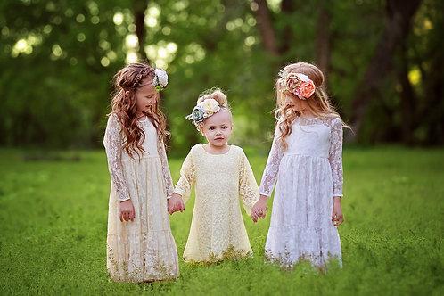 Simply Lace Dress in Cream Chiffon