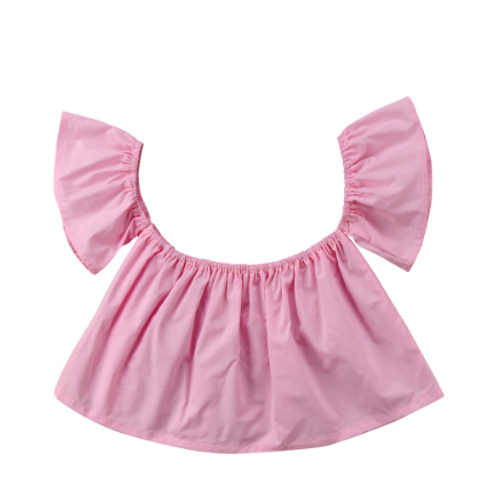 Off The Shoulder Ruffle Top in Pink Top 3m