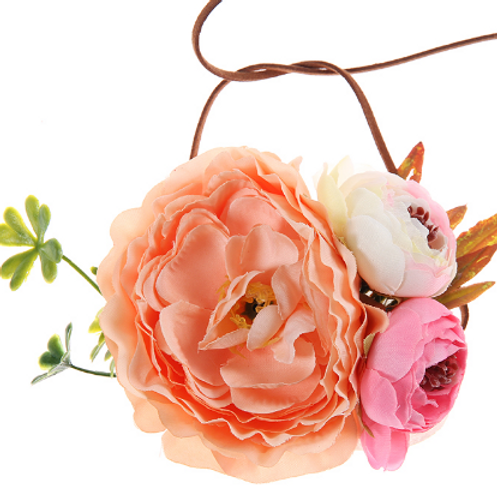 Peach Tieback Flower Halo Crown