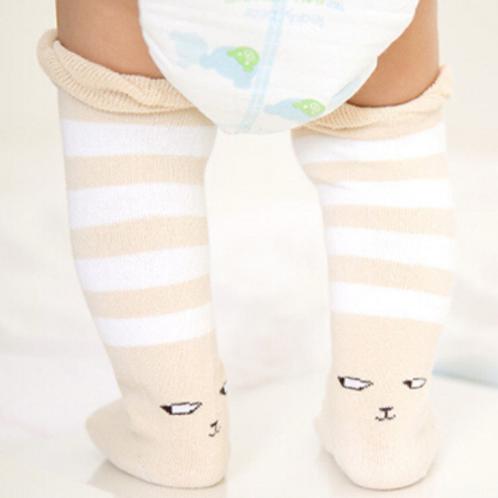 Khacki Stripped Kitty Knee High Socks