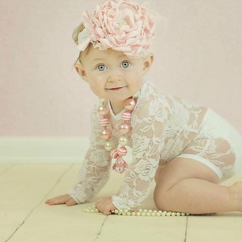 The Little Lace Romper in white 3M-18m