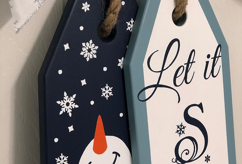 Let It Snow - Navy Snowman Door Tags