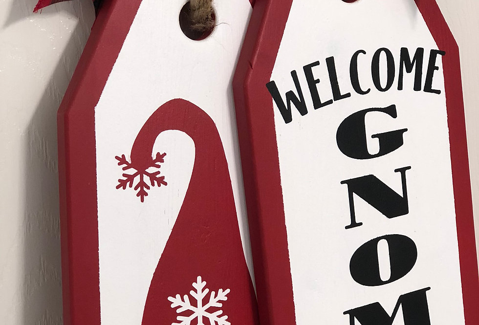 Welcome Gnomies - Red Gnome Door Tags