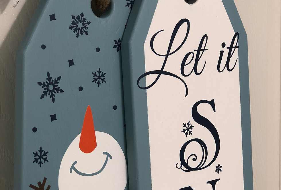 Let It Snow - Blue Snowman Door Tags
