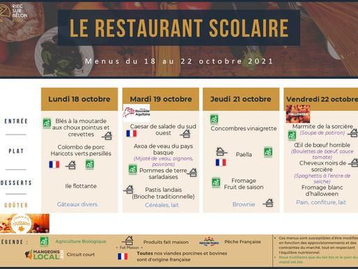 Restauration scolaire : menus du 18 au 22 octobre