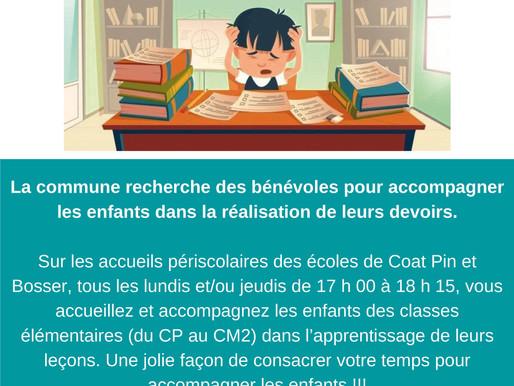 """Recherche de bénévoles pour le dispositif """"Aide aux devoirs"""""""