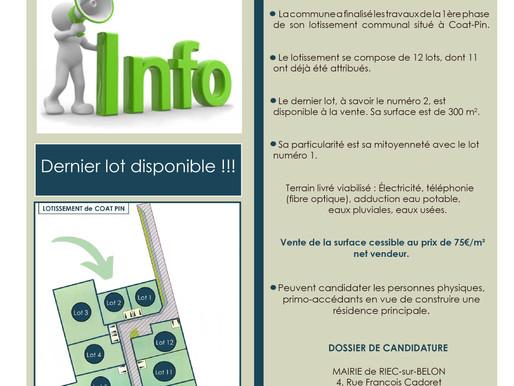 Lotissement municipal de Coat-Pin - Opportunité d'acquisition du dernier lot.