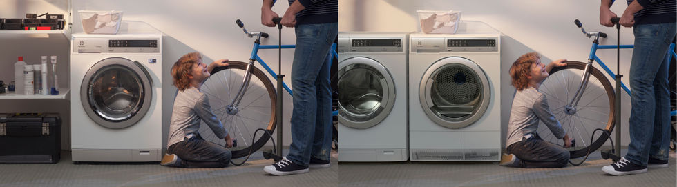 Before and after Electrolux washing machine image rendering and compositing