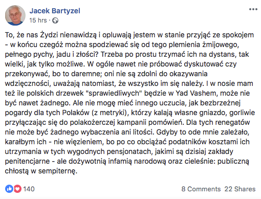 Jacek Bartyzel na Facebooku