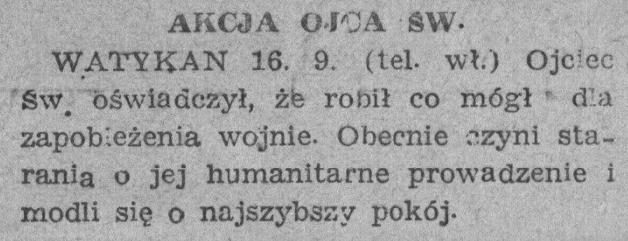 """Z """"Gońca Wieczornego"""" z 17 IX 1939r."""