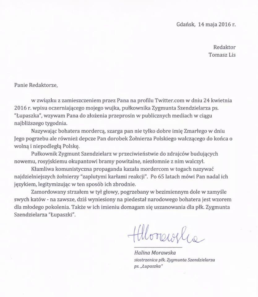 List otwarty do T. Lisa