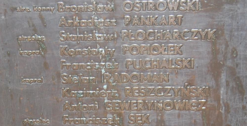 Fragment tablicy na mauzoleum w Andrzejewie