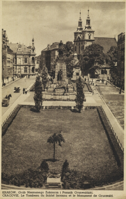 Kraków. Widok na Pomnik Grunwaldzki i Gróg Nieznanego Zołnierza
