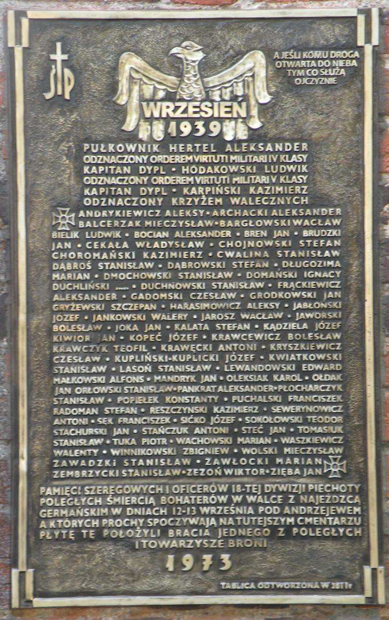 Tablica pamiątkowa w Andrzejewie