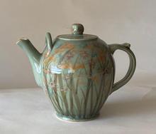 Celadon Teapot marsh design in overglaze