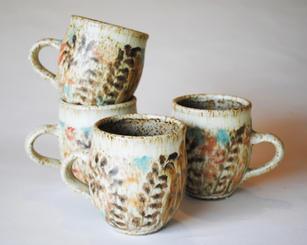 Fern Mugs stoney glaze each piece priced individually