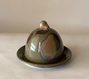 Pear Butter Dish celadon with handbuilt knob