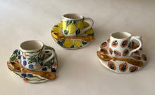 Cup And Saucer Plaques maiolica decoration with gold lustre