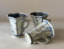 Blue Trumpet Cups ash glaze