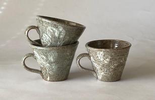Espresso Cups slip and sgraffito decoration