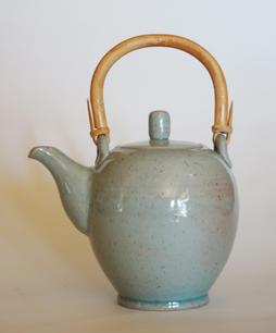 Tea Pot With Cane Handle celadon glaze