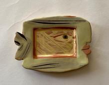Small Fish Plaque underglaze slips with transparent honey glaze
