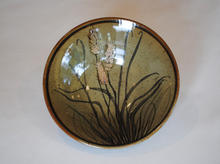 Small Wheat Dish porcelain with celadon glaze and overglaze decoration
