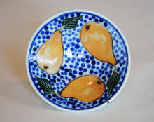 Small Pear Dish porcelain with overglaze decoration