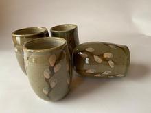 Pussy Willow Tea Tumblers celadon glaze with overglaze decoration
