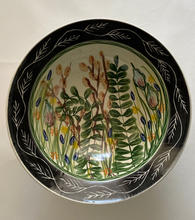 Large Fern Bowl maiolica overglaze decoration