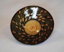 Pussy Willow Bowl celadon glaze with overglaze decoration