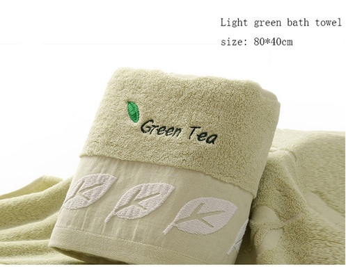 HAKOONA Green Tea Embroidered Leaves Towels for Adults 80*40cm 100% Cotton