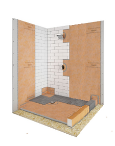 "38""x 60"" Off Center Kerdi (New Style) Shower Kit : Stainless Drain"