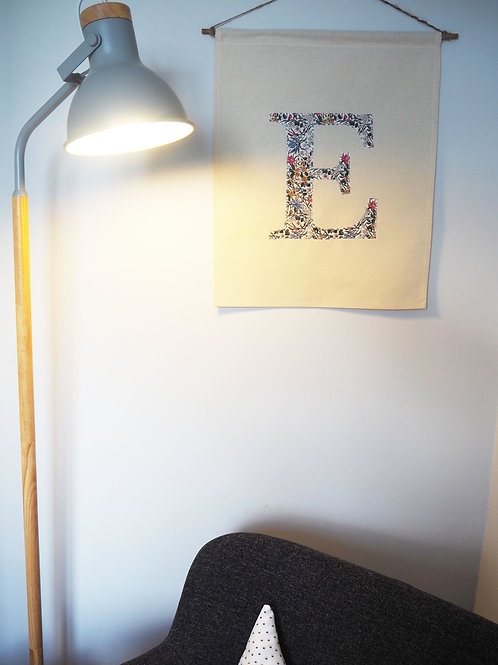 Medium Canvas Wall Hanging Fabric Banner with Initial Appliqué