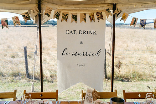 XL Canvas Fabric Wedding Banner Backdrop Sign - Eat Drink & Be Married