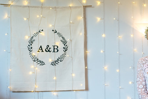 Large Canvas Wall Hanging Fabric Banner Sign with Initials