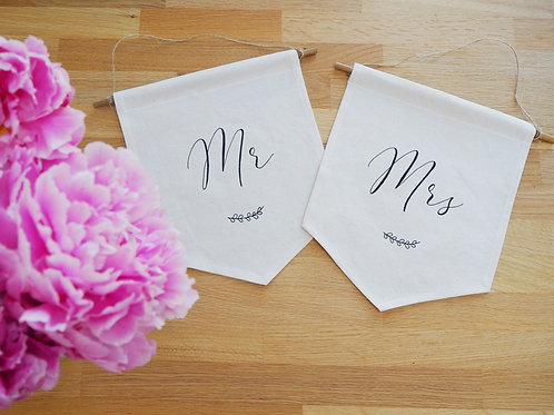 Mr & Mrs Wedding Chair Fabric Banner Signs
