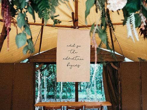 XL Canvas Fabric Wedding Banner Backdrop Sign - Adventure Begins