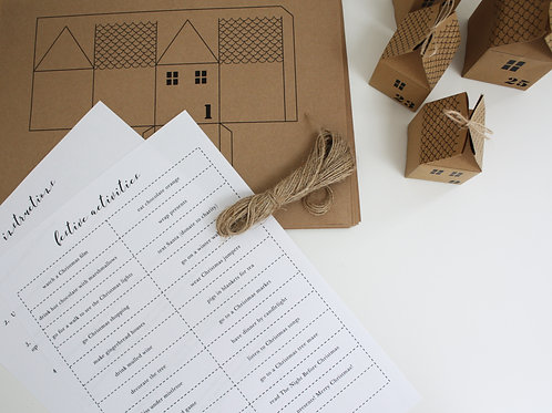 Printable DIY Advent Calendar Houses Kit