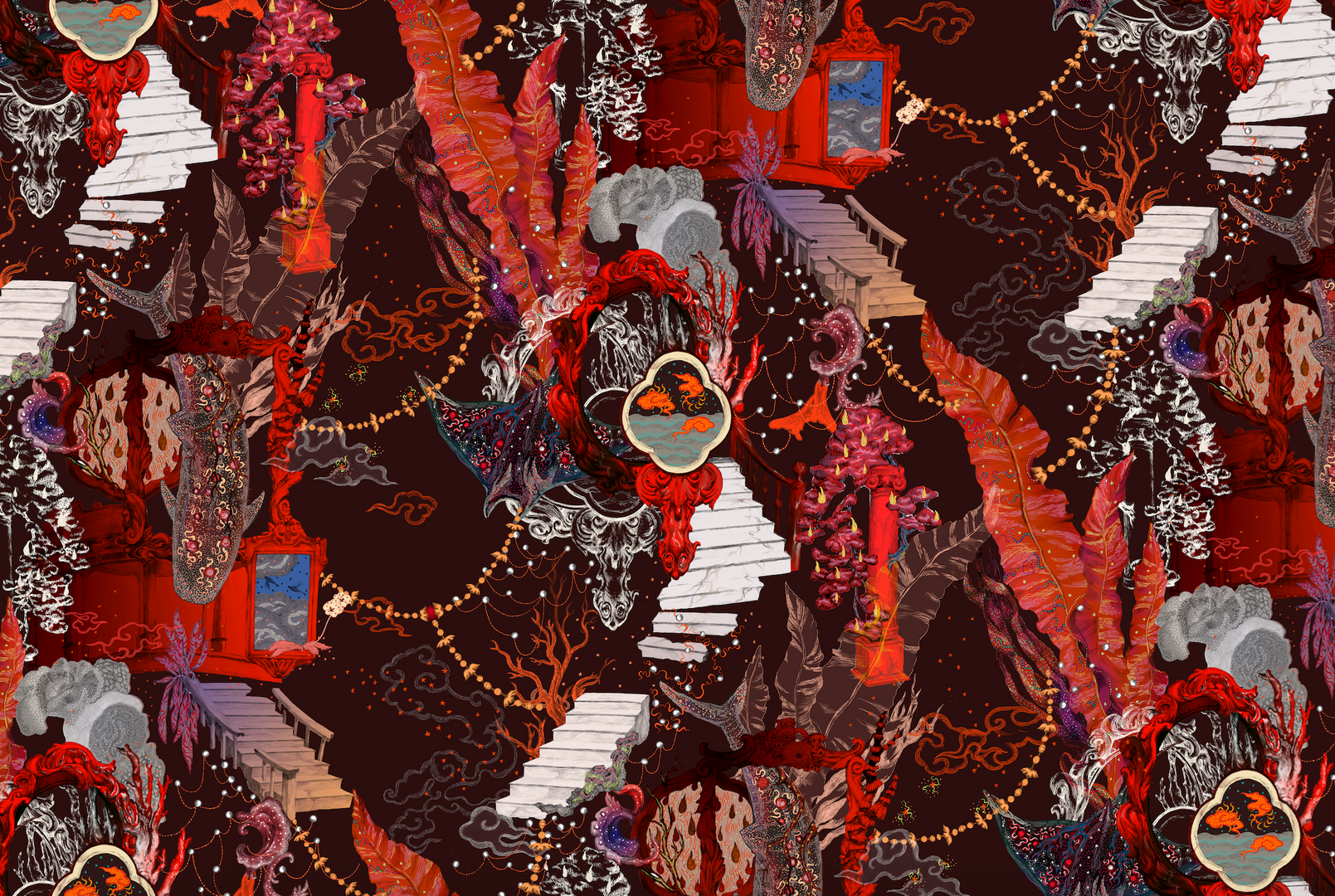 Surreal Palace Print-Red