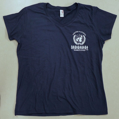 Women's t-shirt V-neck in navy-blue