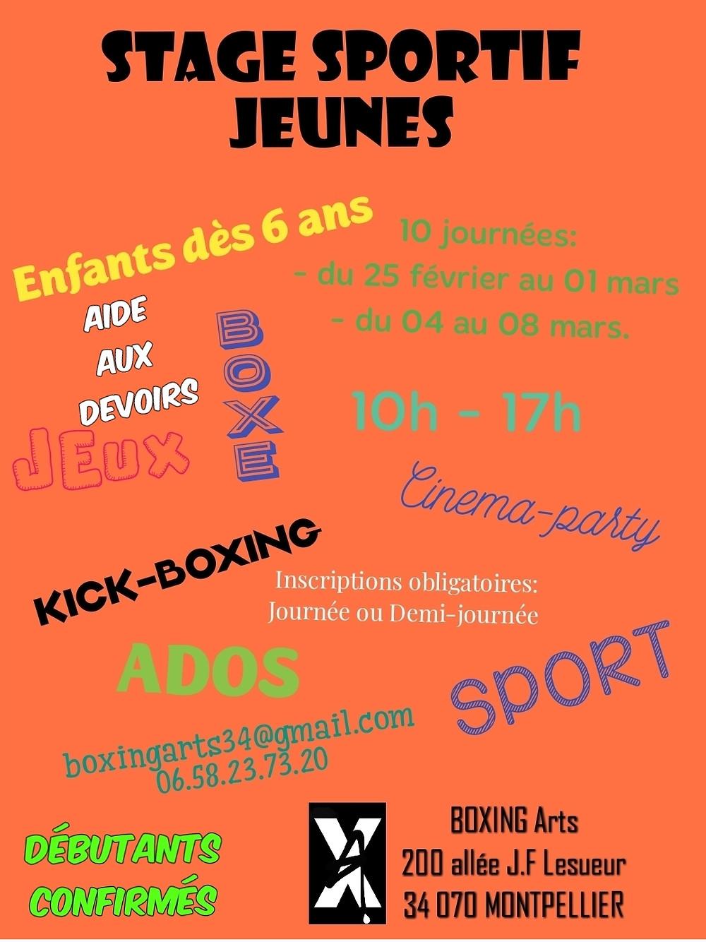 Stage-jeunes oragnisé par l'association BOXING Arts à Montpellier.