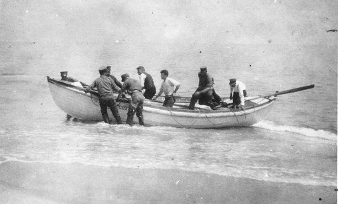 Lifeboats from the barges landing on Nauset Beach