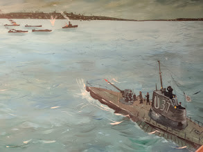 Historically inaccurate painting of the attack housed in an Orleans DPW building