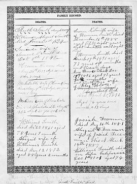 Page from the Josiah Freeman family bible