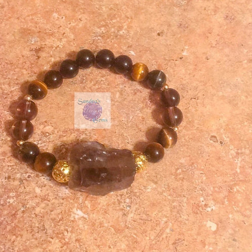 Tiger's Eye, Smokey Quartz, Rainbow Obsidian Bracelet