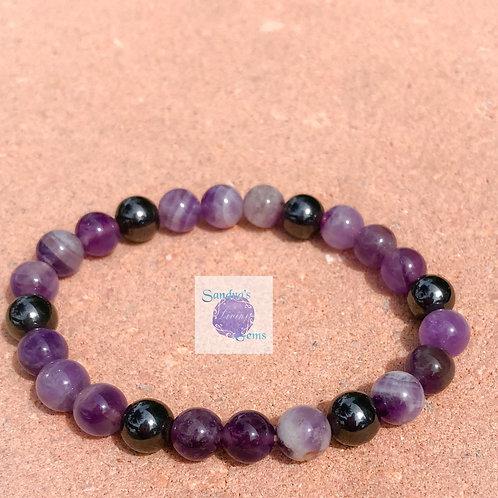 Amethyst & Hematite Bracelet